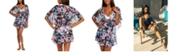Miken Juniors' Tropical Print Smocked Waist Cover-Up, Created for Macy's