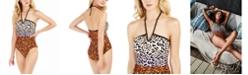 Calvin Klein Printed V-Wire Halter One-Piece Swimsuit