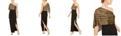 Adrianna Papell One-Shoulder Capelet Overlay Gown
