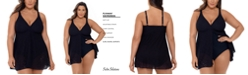 Swim Solutions Plus Size Crochet Flyaway Tummy Control Swimdress, Created for Macy's