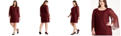 Connected Plus Size Jacquard Tulip-Sleeve Dress