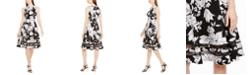 Calvin Klein Illusion-Stripe Printed Fit & Flare Dress