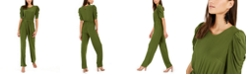 NY Collection Petite Tie-Front Puff-Sleeve Jumpsuit