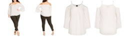 City Chic Trendy Plus Size Simple Bell-Sleeve Top