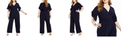 Jessica Howard Plus Size Surplice Ruched Jersey Jumpsuit