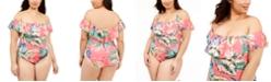 La Blanca Plus Size Tropical Rain Off-the-Shoulder One-Piece Swimsuit