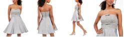 City Studios Juniors' Strapless Lace Bow Dress