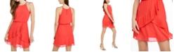 BCX Juniors' Ruffled Chiffon Blouson Dress