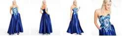 Blondie Nites Juniors' Floral-Appliqué Strapless Gown