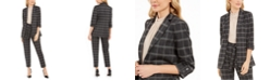 Calvin Klein Petite Plaid Open-Front Blazer, Mock-Neck Top & Tie-Waist Dress Pants