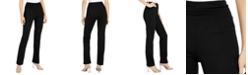 INC International Concepts INC Ruched-Waistband Straight-Leg Pants, Created For Macy's