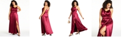 Teeze Me Trendy Plus Size One-Shoulder Satin Gown