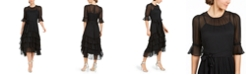Calvin Klein 3/4-Sleeve Tiered Chiffon Dress