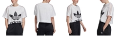 adidas Women's Cotton Lace-Trimmed Cropped T-Shirt