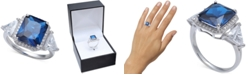 Macy's Cubic Zirconia Blue Halo Statement Ring in Sterling Silver
