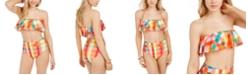 kate spade new york Ruffle Bandeau Bikini Top & High-Waist Bikini Bottoms
