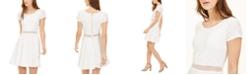Sequin Hearts Juniors' Illusion-Waist A-Line Dress