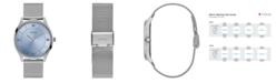 GUESS Men's Genuine Diamond Mesh Silver-Tone Watch 44mm