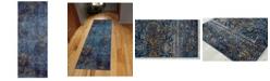 "Amer Rugs Manhattan MAN-42 Teal/ Blue 2'6"" x 6' Runner Rug"