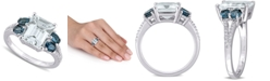 Macy's Aquamarine (3 ct. t.w.), Blue Topaz (1 ct. t.w.) & Diamond (1/10 ct. t.w.) Ring in Sterling Silver
