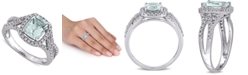 Macy's Aquamarine (1-1/8 ct. t.w.) & Diamond (1/6 ct. t.w.) Halo Ring in 10k White Gold