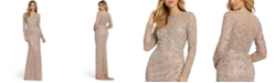 MAC DUGGAL Long-Sleeve Embellished Sequin Gown
