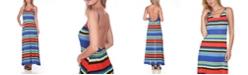 White Mark Women's Open Back Colorful Maxi Dress