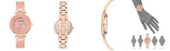 Anne Klein Women's Diamond-Accent Rose Gold-Tone & Pink Marble Acrylic Bangle Bracelet Watch 34mm
