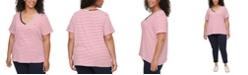 Tommy Hilfiger Plus Size Cotton Striped V-Neck Top