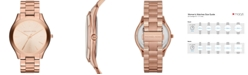 Michael Kors Unisex Slim Runway Rose Gold-Tone Stainless Steel Bracelet Watch 42mm MK3197
