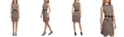 Tommy Hilfiger Faux-Leather-Trim Houndstooth A-Line Dress