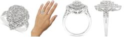 Macy's Diamond Teardrop Cluster Ring (1 ct. t.w.) in 14k White Gold