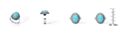 Macy's Simulated Turquoise in Silver Plated Oval Adjustable Ring
