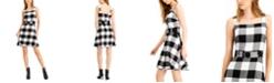 Bar III Buffalo-Check Belted Mini Dress, Created for Macy's