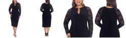 Betsy & Adam Plus Size Lace-Sleeve Sheath Dress