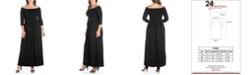 24seven Comfort Apparel Women's Plus Size Off Shoulder Maxi Dress