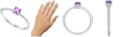 Macy's Amethyst (3/8 ct. t.w.) & Certified Diamond (1/20 ct. t.w.) Ring in Sterling Silver (Also in Citrine & Blue Topaz)