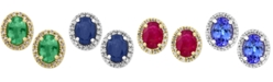 EFFY Collection EFFY® Emerald, Ruby, Sapphire, or Tanzanite and Diamond Stud Earrings in 14k Gold