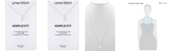 Unwritten Cubic Zirconia Accent Bar Pendant Necklace in Sterling Silver
