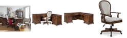 Furniture Clinton Hill Cherry Home Office Furniture, 2-Pc. Set (L-Shaped Desk & Upholstered Desk Chair)