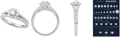Macy's Diamond Floral Cluster Engagement Ring (7/8 ct. t.w.) in 14k White Gold