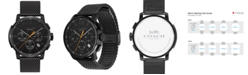 COACH Men's Chronograph Bleecker Chrono Black Stainless Steel Mesh Bracelet Watch 42mm