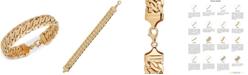 Italian Gold Wide Fancy Link Chain Bracelet in 14k Gold