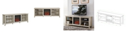 """Walker Edison 70"""" Wood Media TV Stand Console with Fireplace"""