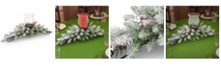 """National Tree Company 30"""" Dunhill Fir Centerpiece and Candle Holder with Snow, Berries and Cones"""