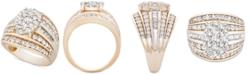Macy's Diamond Oval Cluster Ring (2 ct. t.w.) Ring in 10k Gold