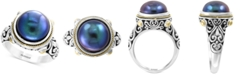 EFFY Collection EFFY® Dyed Cultured Freshwater Pearl (12mm) Ring in Sterling Silver & 18k Gold Over Silver