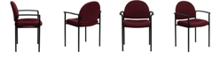 Flash Furniture Comfort Burgundy Fabric Stackable Steel Side Reception Chair With Arms