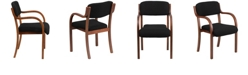 Flash Furniture Contemporary Walnut Wood Side Reception Chair With Arms And Black Fabric Seat