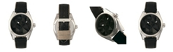 Morphic M59 Series, Silver Case, Black Leather Overlaid Canvas Band Watch, 44mm
